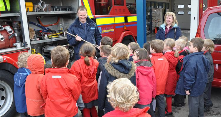School children take a look at a fire engine