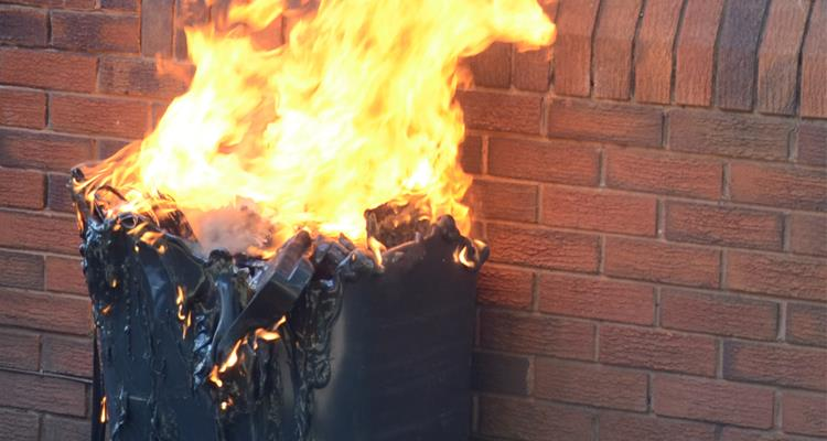 Wheelie bin on fire