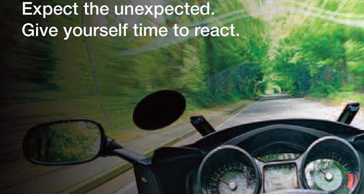 Motorbike on the roaf Expect the unexpected . Give yourself time to react