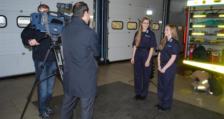 Fire cadets being filmed