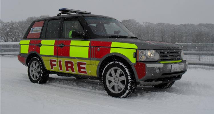 Fire vehicle in the snow