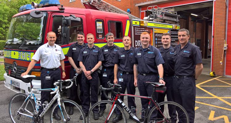 Firefighters waiting to start the charity bike ride for injured Firefighter Vicki Griffiths