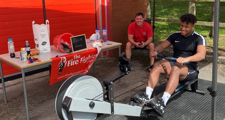 Firefighters rowing in Frodsham