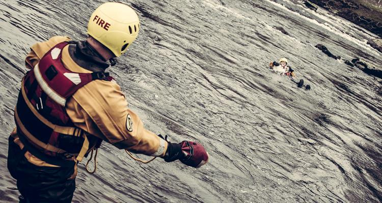 Water rescue training on a river