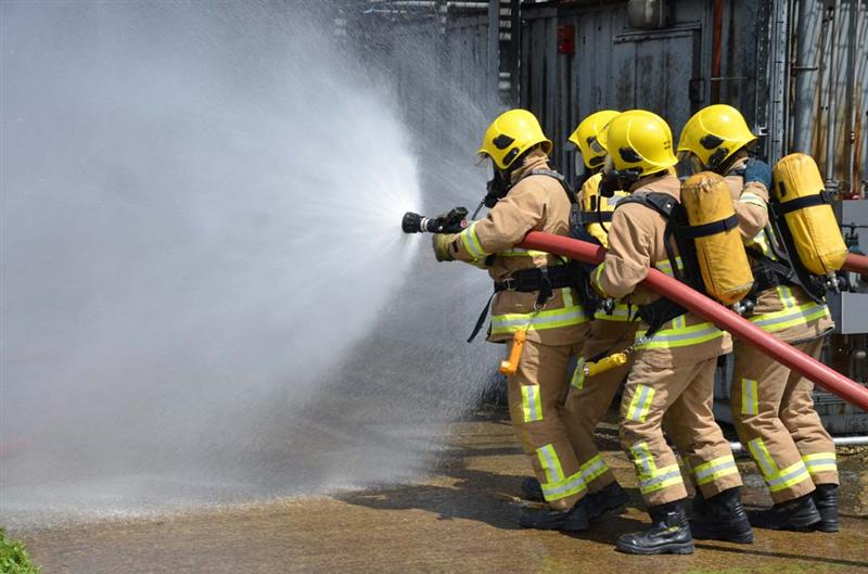 Firefighters taking part in a training exercise