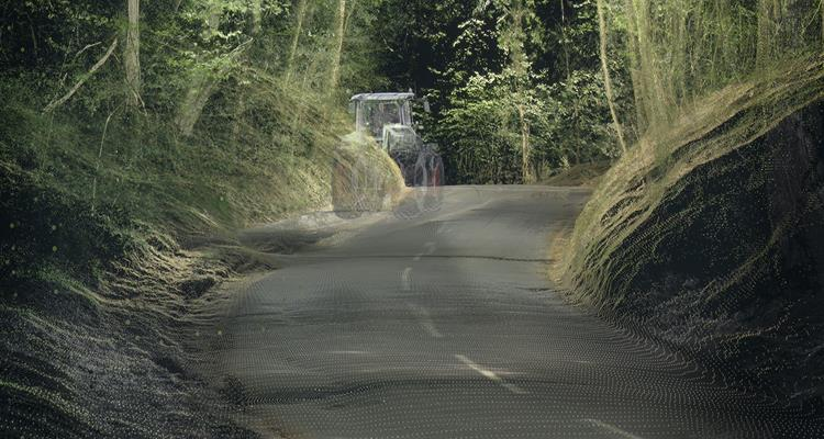 A hidden danger (tractor) on a country road