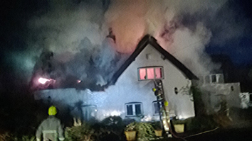 Thatched Roof Fire In Arley Northwich