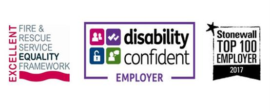 Logo - excellent fire and rescue equality framework. Disability confident employer. Stonewall top 100 employer