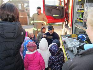 Fire engine tour at Sunny Days nursery
