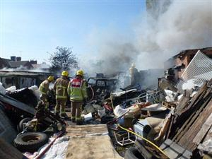 Photo showing the scene of the fire on Catherine Street in Crewe