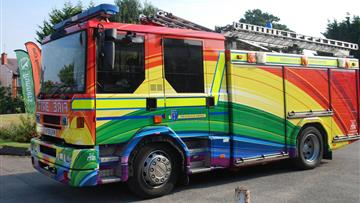 Rainbow fire engine