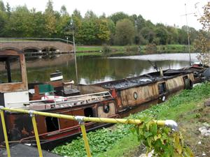 Canal boat fire on the River Weaver