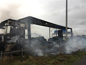 Lorry destroyed by fire