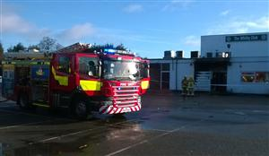 Fire engine at a social club fire in Ellesmere Port