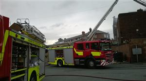 Fire engine at the scene of the fire in Widnes