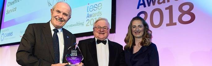 Chair of Cheshire Fire Authority Cllr Bob Rudd collects iESE 2018 Working Together Award for Safe and Well inititiative