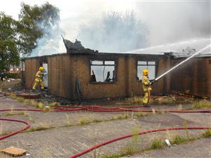 tackle a building fire in Crewe