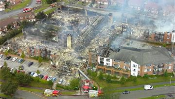 Damage caused by fire at the Beechmere supported living complex on Rolls Avenue in Crewe