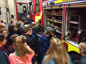 Scouts being shown around a fire engine in Ellesmere Port
