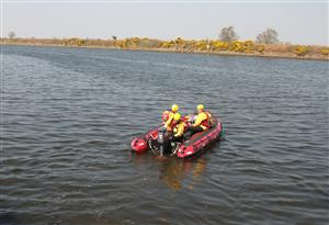Water rescue boat on the Manchester Ship Canal