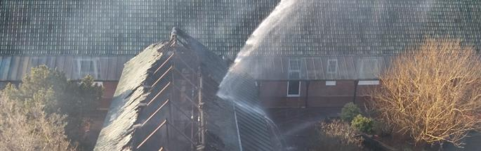 Firefighters tackling a fire at a school in Northwich