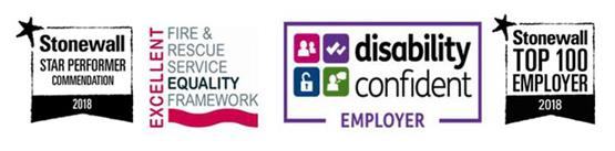 Logo - excellent fire and rescue equality framework. Disability confident employer. Stonewall top 100 employer and Stonewall Star Performer