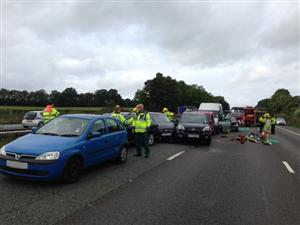 Multiple vehicle road traffic collision on the M6