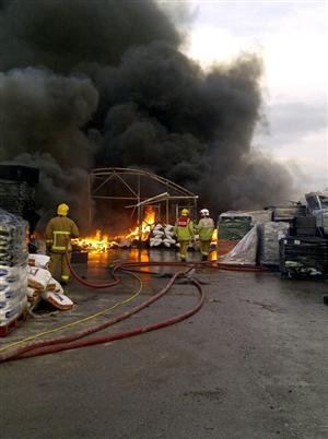 Firefighters tackle a large blaze in Crewe