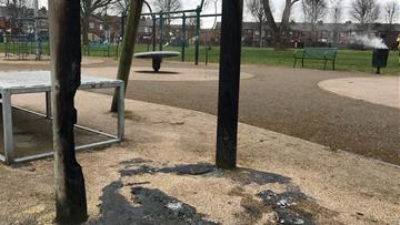 Bin fires at a playground in Warrington