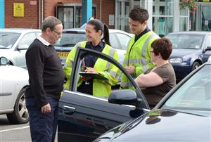 Drivers being given safety advice by Cheshire Fire and Rescue Service