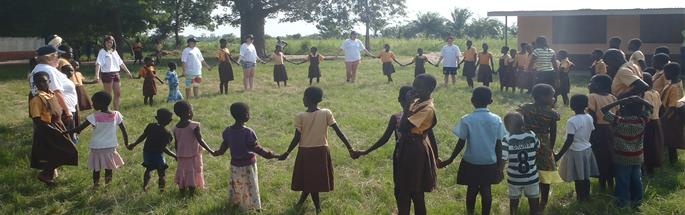 Cadets interacting with the children in the village in Ghana