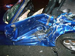 One of the cars involved in a road traffic collision in Widnes