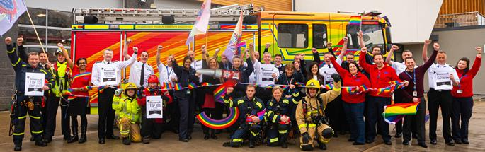 Members of Cheshire Fire and Rescue Service celebrate being named best employer in the North West and best emergency service in the UK in Stonewall's Top 100 Employers list for 2020