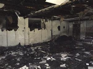 Damage inside the building as a result of fire in Runcorn