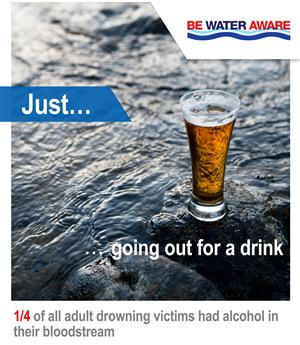 Be water aware - a quarter of all adult drwoning victims had alcohol in their bloodstream