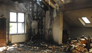 Damage caused by fire at a house in Chester