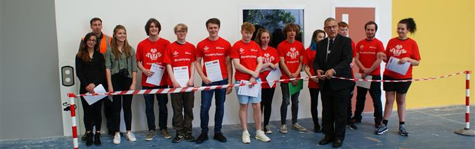 The Prince's Trust Halton team pictured with Chair of Cheshire Fire Authority Cllr Stef Nelson opening the community project and staff from COSAC and students from University of Chester.