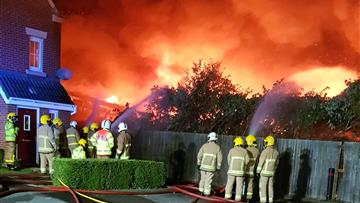 Firefighters tackling the fire in Widnes