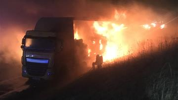 Lorry fire on A556