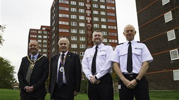 left to right - Cllr Michael Edwardson - Mayor of Ellesmere Port, Cllr Bob Rudd - Chair Cheshire Fire Authority, Chief Fire Officer Mark Cashin, Area Manager Lee Shears - Head of Protection and Organisational Performance