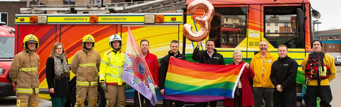 CFRS staff celebrating third place in Stonewall Top 100 Employers' list