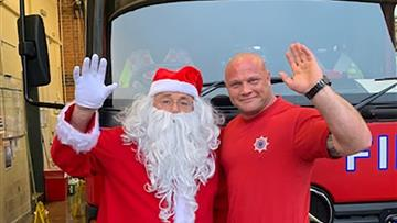 Santa with Firefighter Ash Brown