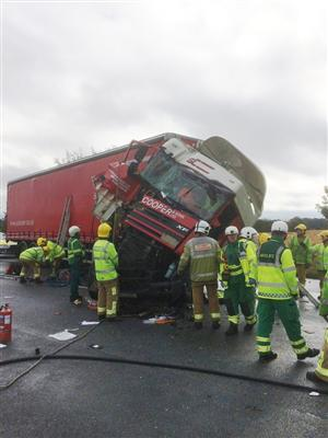 Road traffic collision involving large vehicle on M62