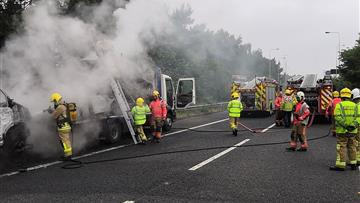 A number of vehicles on fire at Lymm interchange
