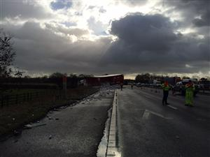 Overturned HGV on the M6