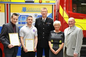 Lucas Cooper, Chris Johnston, Chief Fire Officer Paul Hancock, Helen and Geoff Millichap