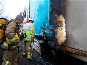 Crewe firefighters inspect damage to lorry after fire on A534