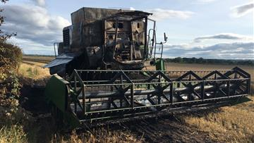 Combine harvester fire in Chester