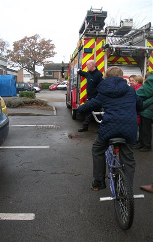 Children being given road safety lesson at Ellesmere Port school