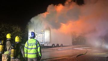 Heavy goods vehicle fire on the M62